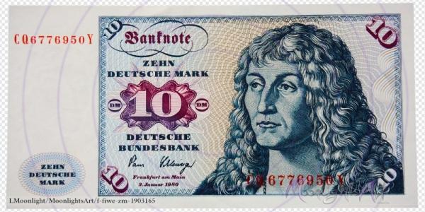 Zehn deutsche Mark - Geldschein Vorderseite - freigestellt