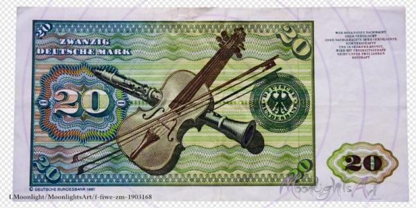 Zwanzig deutsche Mark - Geldschein Rückseite - freigestellt