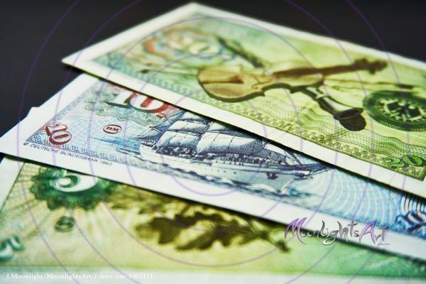 Deutsche Mark - Geldscheine Rückseite Nahaufnahme
