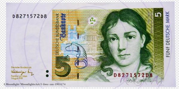 Fünf deutsche Mark - Geldschein Vorderseite - freigestellt