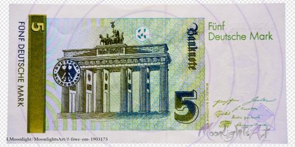 Fünf deutsche Mark - Geldschein Rückseite - freigestellt
