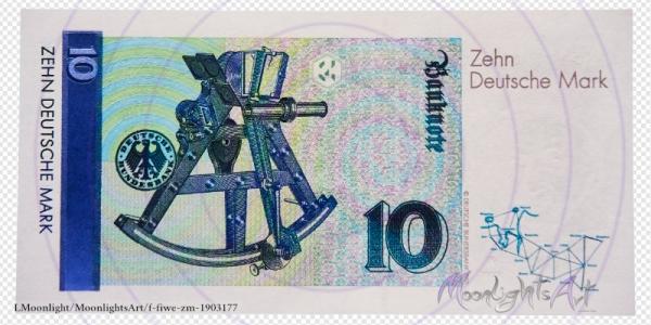 Zehn deutsche Mark - Geldschein Rückseite - freigestellt