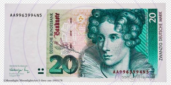 Zwanzig deutsche Mark - Geldschein Vorderseite - freigestellt