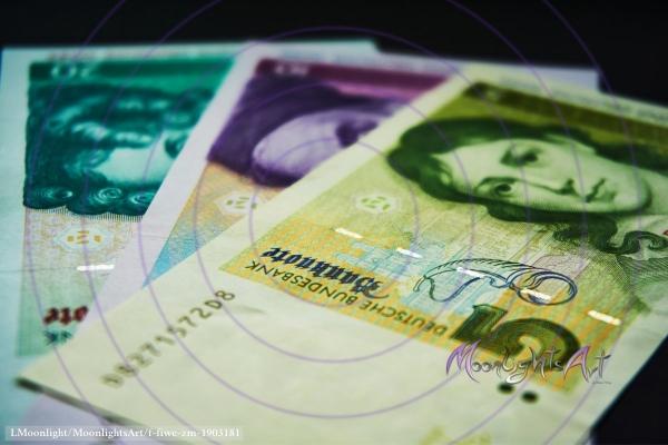 Deutsche Mark - Geldscheine Vorderseite Nahaufnahme