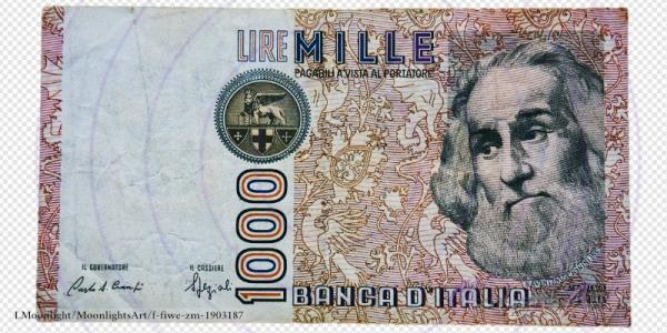 1000 italienische Lire - Geldschein Vorderseite - freigestellt