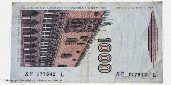 1000 italienische Lire - Geldschein Rückseite - freigestellt