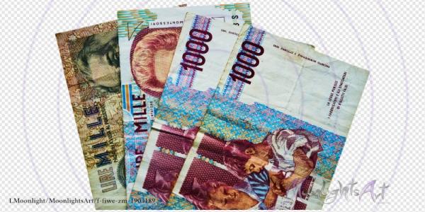 Italienische Lire - Geldscheinfächer Vorderseite - freigestellt