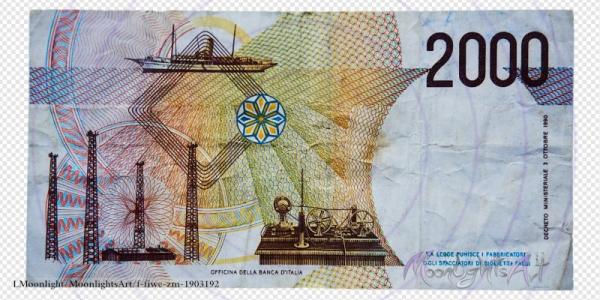 2000 italienische Lire - Geldschein Rückseite - freigestellt
