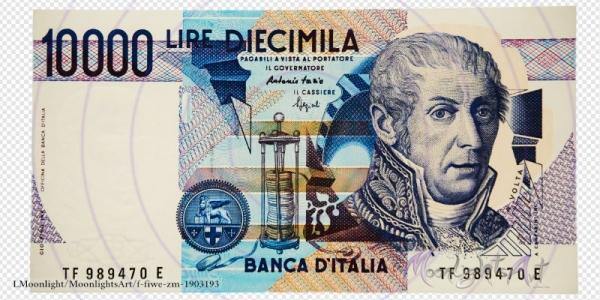 10000 italienische Lire - Geldschein Vorderseite - freigestellt