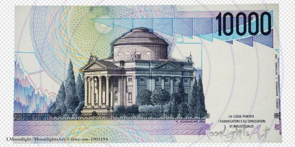 10000 italienische Lire - Geldschein Rückseite - freigestellt