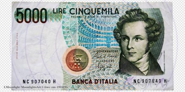 5000 italienische Lire - Geldschein Vorderseite - freigestellt