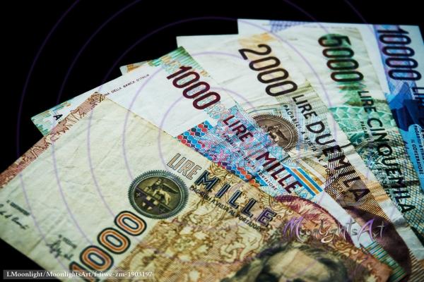 Italienische Lire - Geldscheine Vorderseite Nahaufnahme
