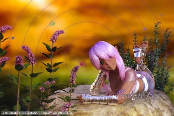 Verträumtes Mädchen mit Schmetterlingen